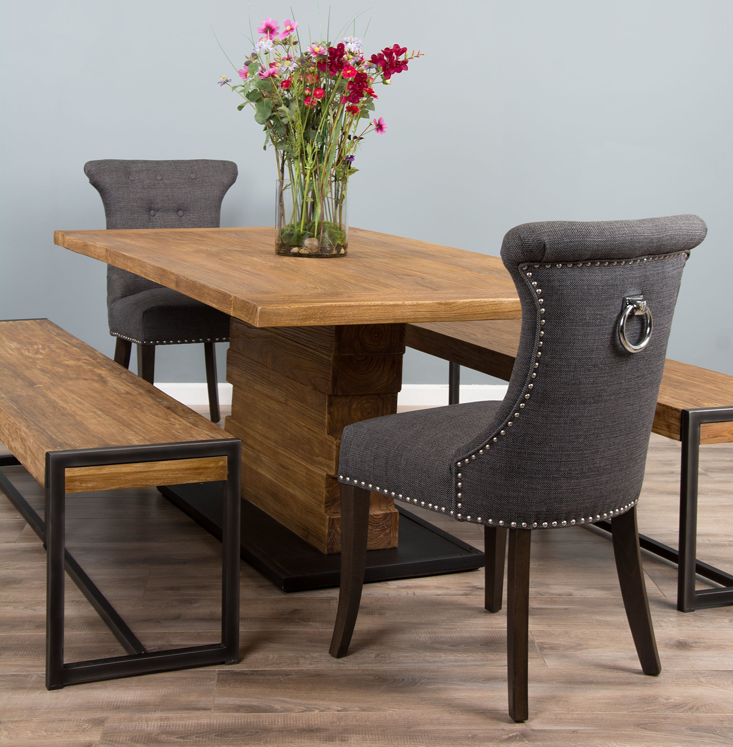91S9PhH1JxL - 2m Reclaimed Teak Urban Fusion Pedestal Table with Two Backless Benches and Two Dove Grey Windsor Ring Back Dining Chairs