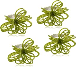 YD Designs  Napkin Ring Holder for Dinning Table Rings Metal & Glass Sead Beads Napkin Ring - Green  Set of 4 