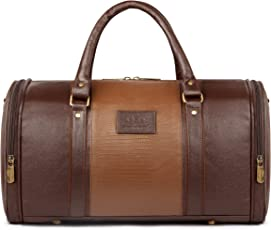 The Clownfish Ambaince series Leatherette 20 Ltr Brown Hybrid Sided Travel Duffle