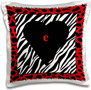 3drose Letter C Heart On Red Black Zebra Print Pillow Case White 16 X 16 Inch Amazon Co Uk Kitchen Home