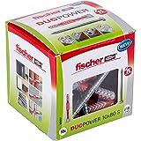 fischer DUOPOWER 10 x 80 S, universele pluggen met veiligheidsschroef, 2-componenten pluggen, kunststof pluggen voor bevestig