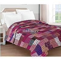 iinfinize Indian 90 x 108 Pure Silk King Size Handmade Patola Silk Patch Work Kantha Quilt Kantha Blanket Unique Light…