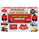 Wow Party Studio Cardstock Personalized Mcqueen Car Theme Happy Birthday Party Decorations Supplies With Birthday Boy/Girl Na