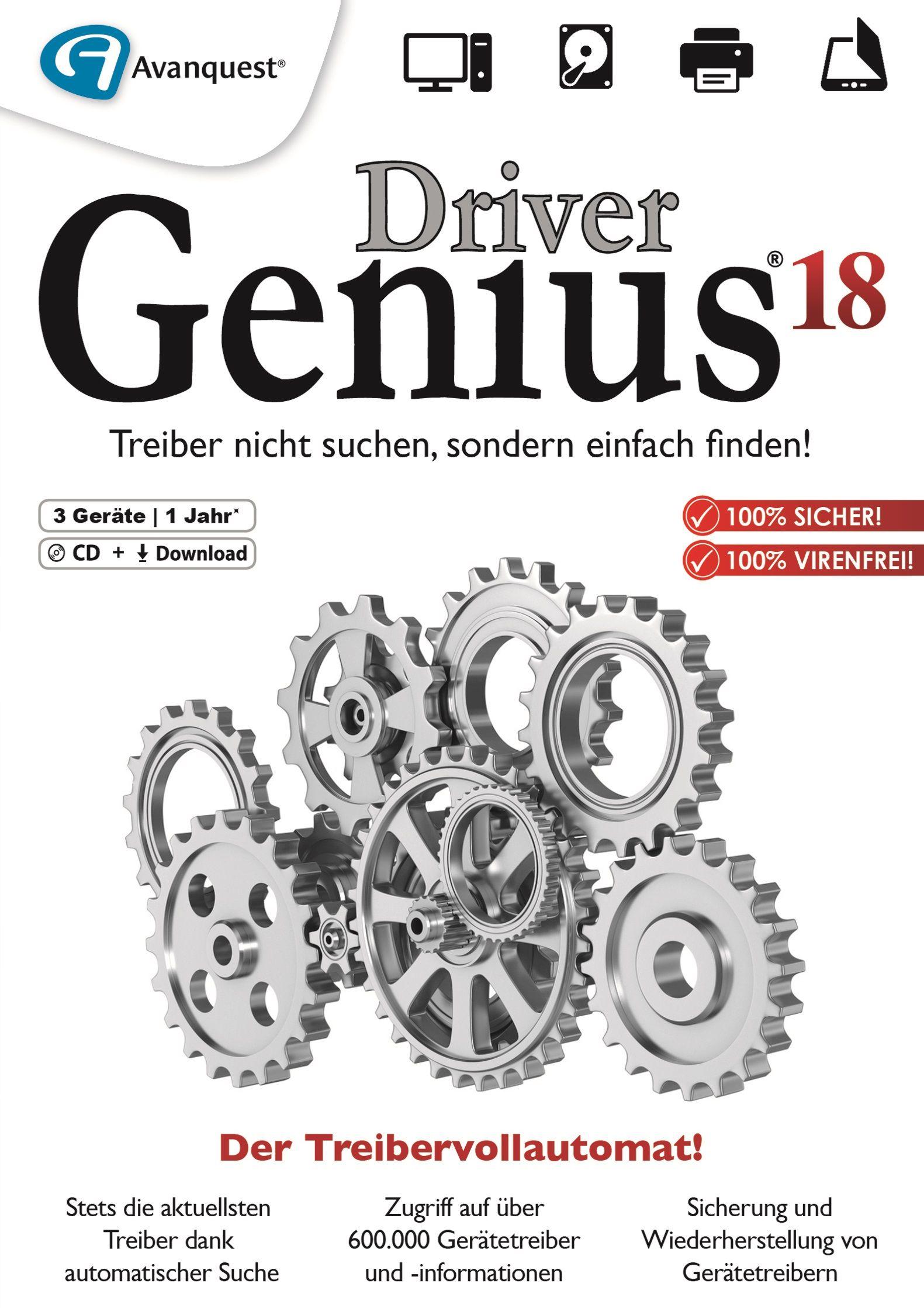 Driver Genius 18 - Treiber nicht suchen, sondern einfach finden! Windows 10|8|7 [Online Code] (Windows 7 Treiber Download)