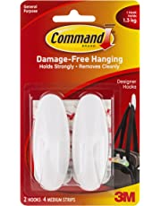 Command Designer Medium Plastic Hook(White, 2 hooks and 4 strips)