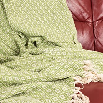 Home Décor Beautiful Leaves Leaf Red Beige Chenille Jacquard Tasselled Throw Blanket 145x180cm