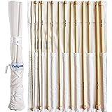 Set 14 Agujas Ganchillo Bambú Afgano - Kit Agujas de Madera de 34cm con Bolsa Gratis - Ideal para Ganchillo, Encaje, Blondas