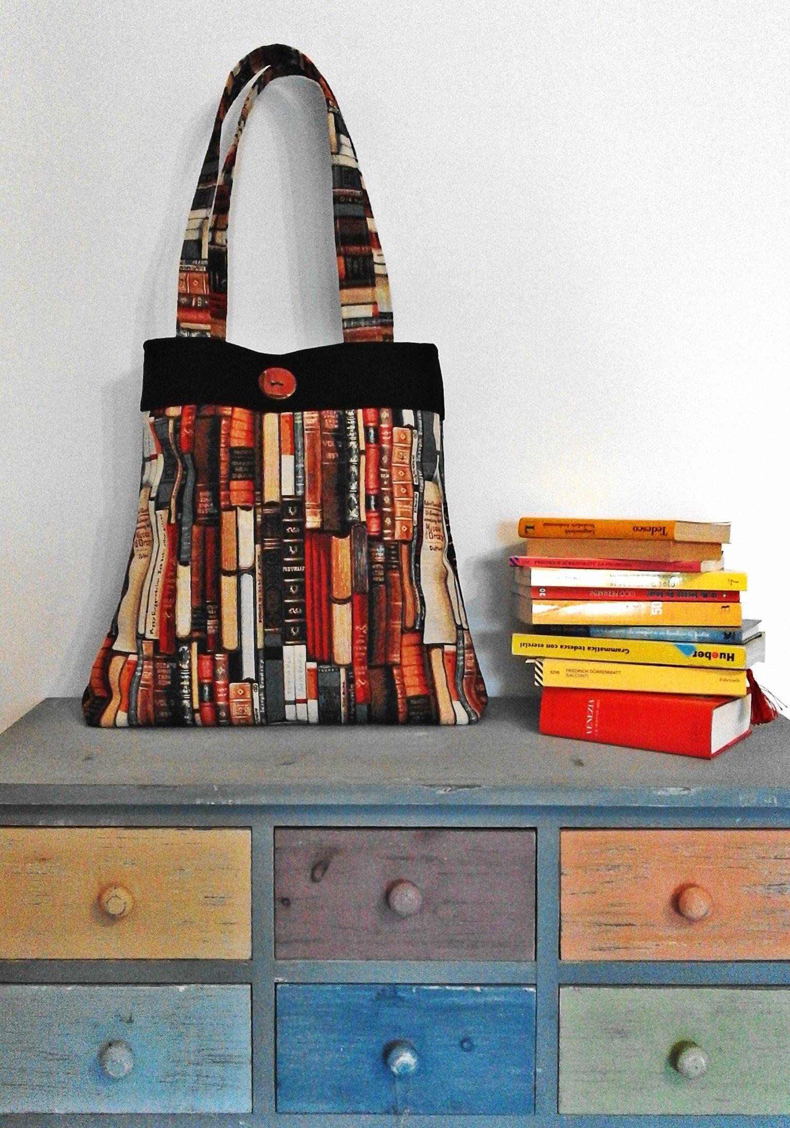Book lovers Shoulder bag - Gobelin and Black Velvet - handmade-bags