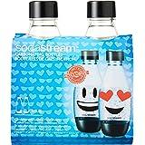 Sodastream Duopack Herbruikbare Glazen Flessen - 2 X 0,5 L Met Emoji-Print Speciaal Voor Sodastreamtoestellen Duurzaam Schroe