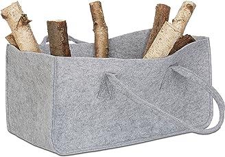 Kaminholztasche, faltbar, flexibel, Griff, 27 Liter, Filz, Aufbewahrungskorb, HxBxT: 25 x 25 x 50 cm, modern, grau