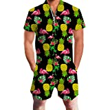 RAISEVERN Mens Zip up 3D Graphic Printed Designer Overall Jumpsuit Short Sleeve Jumpsuits Cool Design Short Cargo Pants Rompe