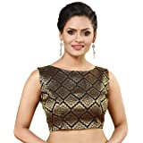 MADHU FASHION Womens Banaras Brocade Readymade Stitched Sleeveless Saree Blouse