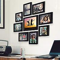 AJANTA ROYAL Individual Synthetic Polymer Wood Photo Frames(6-5x7-inch, 2-5x5-inch, 1-8x10-inch), Black- Set of 9