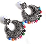 Unique Finds Metal Oxidised Traditional Dangle and Drop Earrings with Multicolour Beads for Women