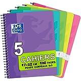 Oxford Lot de 5 Cahiers à Spirales 17x22 cm 180 Pages Petits Carreaux 5x5 Coloris Assortis