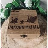 Personalised Engraved Hakuna Matata Gift Box Jewellery Storage Memory Box Lion King Simba Timon Pumbaa Keepsake Gift…