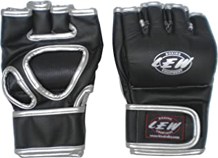 LEW Star Grappling Training MMA Gloves (Black/Silver)