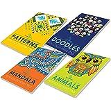 Set of 4 Mini Adult Colouring Pads including Patterns, Mandala, Doodles & Animals