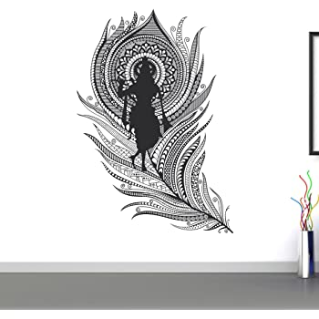 f2545f15f9 Happy Walls Decals 'Lord Krishna with Flute' Wall Sticker - (PVC Vinyl, 60  cm x 40 cm,)