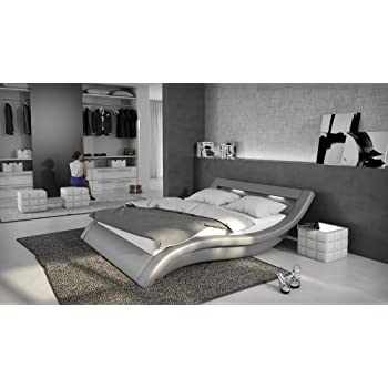 salesfever polsterbett 180x200 cm grau aus kunstleder mit. Black Bedroom Furniture Sets. Home Design Ideas