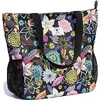 ESVAN Tote Bag Borsa a tracolla originale con motivo floreale, impermeabile, grande, per palestra, spiaggia, viaggi, per…