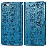 Miagon PU Pelle Portafoglio Custodia per iPhone 6 Plus/6S Plus,Gatto Cane Goffratura Flip Case Cover con Sportellino Clip Mag