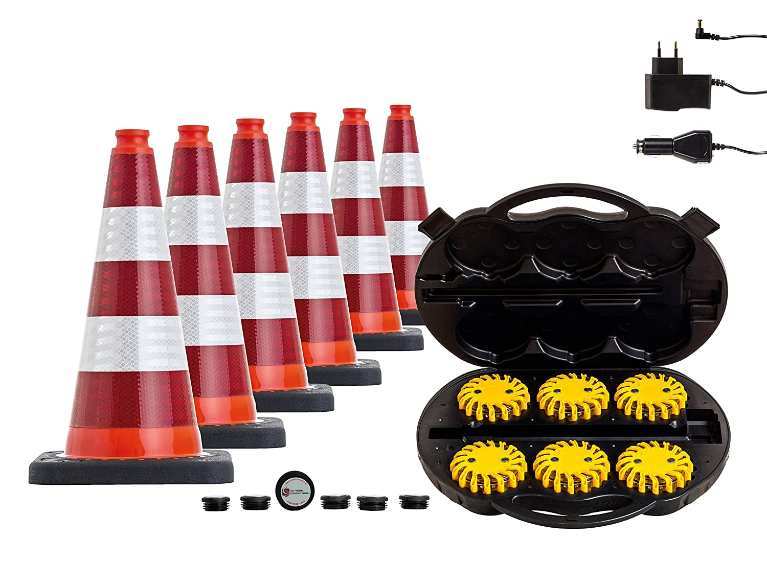 Set of 6 traffic cone with high power led warning lights mobileds set of 6 traffic cone with high power led warning lights mobileds escape light flare in practical travel battery charger power case full 3pack biocorpaavc