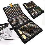 96 styck färgpennor skissning konst set, professionellt rittillbehör set och pennfodral stort, rita blyertspennor för konstnä
