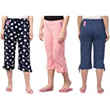 Fflirtygo Women's Cotton Capri, Women Capris, Night Wear Capris for Women, Printed 3/4 Pyjama(Pack of 3Pcs), Prints May…