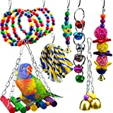 7 Packs Bird Swing Chewing Toys-Parrot Hanging Bell Cage Hammock Toy Parrot Cage Toy Bird Perch with Wood Beads Hanging, Rope