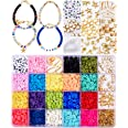 Tacobear Perlen Set Basteln Perlen Ketten Selber Machen Set für Charm Armband Halskette Kit DIY Schmuck Bastelset Polymer Cla