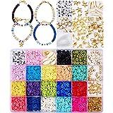 Tacobear Pärlor, hantverkskit med platta, runda i polymer och lera, avståndspärlor för armbands-, halsbands- och örhängeskons