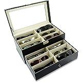 Grinscard Boîte à Lunettes pour Ranger 12 Verres - Noir Environ 34 x 19 x 16 cm - Présentation et Rangement Lunettes de Solei