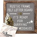 Rustic Wood Frame Gray Felt Letter Board 10x10 inches. Precut White & Gold Letters, Script Cursive Words, Letter Bags…