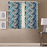 Queenzliving Polyester Garden County Curtain, Window 5 feet- Pack of 2 (Blue)