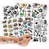 100 tattoos om op te plakken - huidvriendelijke kindertattoos jongens tiener - kindvriendelijke ontwerpen - als verjaardagsca