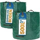 Glorytec Gartensack 2X 500l mit doppeltem Boden - 4 reißfeste Griffe - Gartenabfallsäcke aus extrem robustem…