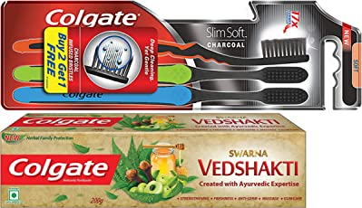 Swarna Ved Shakti Toothpaste - 200 g and Colgate Slim Soft Charcoal Toothbrush (Buy 2 Get 1 Free)