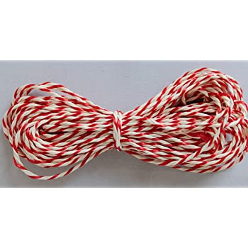 10 Metres of Red/White Rayon Twine for Craft/Baking/Christmas