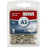 Novus Aluminium klinknagels 8 mm, 30 klinknagels, Ø 3 mm, 4,0-5,5 mm klemlengte, voor non-ijzer metaal, kunststof, stoffen