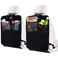 KangoKids Kick Mats Set of 2 - Keep Your Upholstery Clean - Waterproof and Stain Resistant Seat Protectors - Pockets Make a Handy Back Seat Car Organiser.