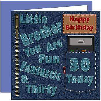 Little Brother 16th Happy Birthday Card Dirty Denim Fun Design