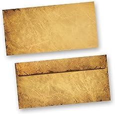 Briefumschläge alt CASANOVA 50 Stück DIN lang Umschlag Mittelalter antik haftklebend ohne Fenster