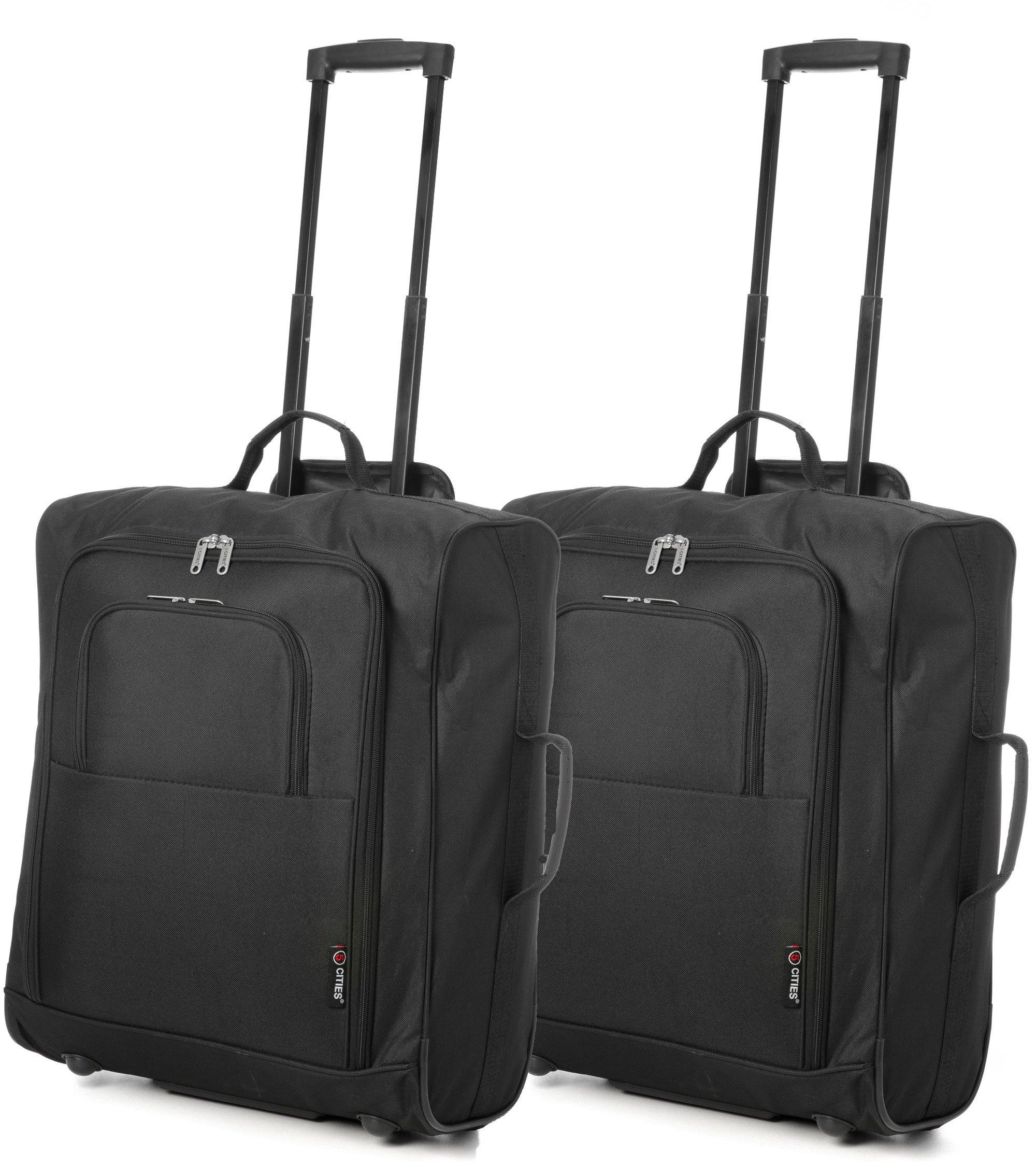 91SylkeuhGL - Easyjet e British Airways 56x45x25cm bagaglio a Mano massima approvato Trolley, 60L Capacità,(2X Negro)