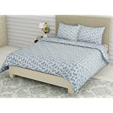 Linenwalas Double Bedsheet with Pillow Covers | 300 TC Premium Cotton Bed Sheet Easy Wash Soft Sateen Weave 90x100 inch - Blu