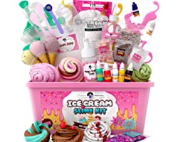 Original Stationery Fluffy Slime Kit For Girls Everything In One Box to Make Ice Cream Slimes - Make Fluffy, Butter, Cloud &