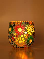 Afast New Style & Design Candle Tealight Holder Hand Decorated with Colorful Chips & Beads for A Romantic Colorful & Magical Lighting Effects