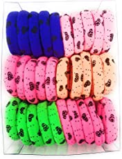 Fairytale Neon Printed Rubber Clip-on Pony Round Hair Band Jewelry for Women (Multicolour)