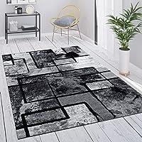 Paco Home Tapis Design Moderne Poils Ras Abstrait Peintures Effet Noir Gris Anthracite, Dimension:60x100 cm