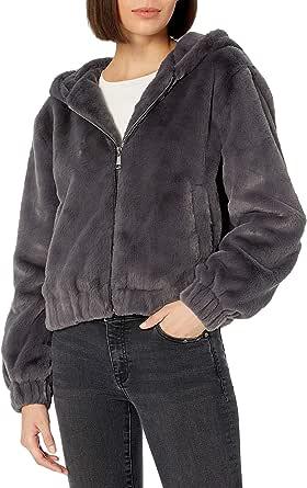 Marchio Amazon - Sloane, giacca in stile bomber, con zip frontale e cappuccio, in finta pelliccia di The Drop